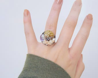 Feminine and Whimsical Natural Shell Freshwater Pearl Ring