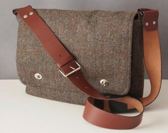 Tweed Messenger Bag with leather strap - fabric satchel for Tablet, Camera, eReader, Laptop