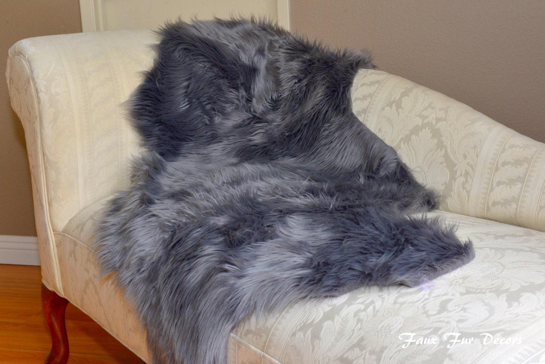 Home Living Faux Fur Decor Gray Sheepskin Couch Throw Cushions