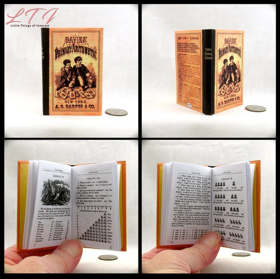 PRIMARY ARITHMETIC 1:3 Scale Book Miniatures Book Mathematics Laura Ingalls American Girl Doll 18 inch Doll Scale Little House Prairie