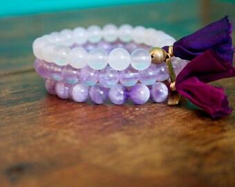 Purple Beaded Tassel Prayer Bracelet Set Light Amethyst, Chevron Amethyst, and White Agate Sari Silk Mala Stack