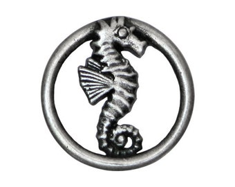 Nicky Epstein Seahorse 1 inch ( 25 mm )  Metal Shank Button Antique Silver Color