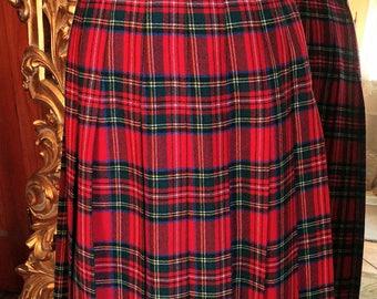 Vintage 1970's Lindsay Blake Red Plaid Pleated Skirt