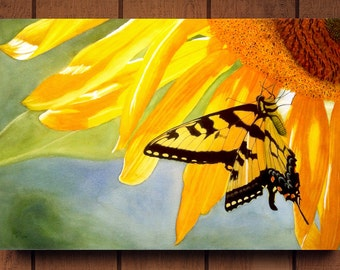Yellow Butterfly Watercolor Painting Canvas Print by Cathy HIllegas, 20x30 watercolor print, sunflower art, ready to hang canvas art print
