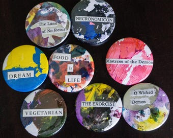 One of a Kind Collage Pins, Pinback Buttons, Buttons, Badges, Painting, Unique, One of a Kind, Fun Vegetarian, Funny Sayings, The Exorcist