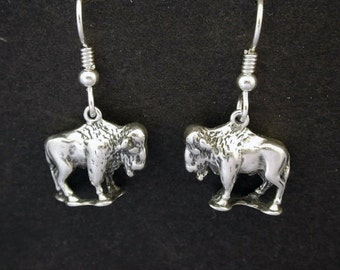 Sterling Silver Bison American Buffalo Earrings on Heavy Sterling Silver French Wires
