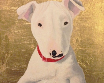 Custom Pet Portrait, Gold Leaf, Personalized Pet Memorial Painting, Birthday Gift, Boyfriend Husband Wife Mom Dad Parent Christmas Holiday