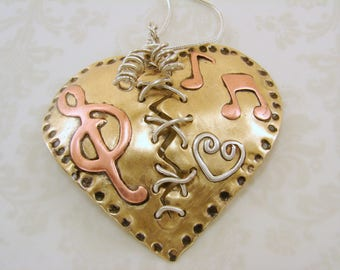 Broken Mended Heart, Mixed Metals, Sterling Silver, Red Brass and Copper, Can be customized