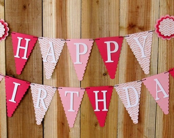 Pink Chevron Happy Birthday Banner, Happy First Birthday Banner, Girl Banner