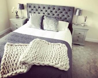 Chunky Hand Knit Merino Blanket
