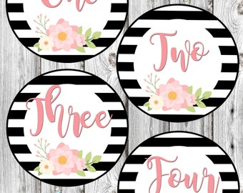 Monthly Baby Stickers - Black and White Floral - Baby Girl - Photo Prop - Nursery Decor - New Baby