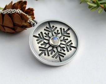 Snowflake and moonstone Necklace - sterling silver snowflake necklace rainbow moonstone gemstone cabochon
