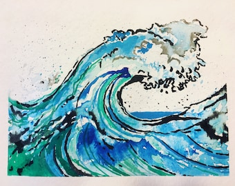 Ocean waves watercolor print