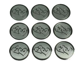 "100 SILVER Double Hearts Print Wedding Round Envelope Seal Stickers 1"" Diameter"