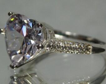 Vintage Sterling Silver Heart CZ Gemstone Ring Sz 9 M216