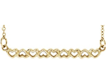SALE! Any Color 14K Gold Heart Bar Necklace