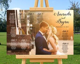 Custom photo wedding seating chart, boho wedding, wedding seating plan, wedding seating assignments, table numbers sign, DIY printable