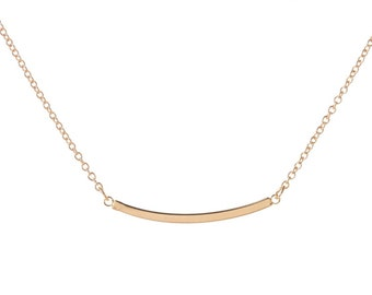 Gold Curved Bar Neclace, 14kt Gold Filled, Curved Bar Necklace