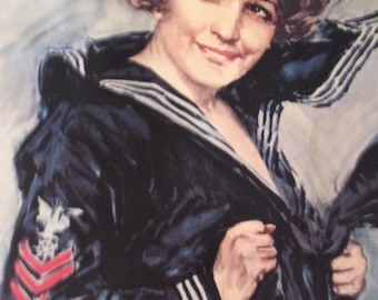 Gee If I Were A Man I'd Join The Navy Recruitment poster WWI