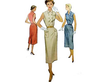 Vintage 1950's Sewing Pattern for Women's Sleeveless Double Breasted Dress Misses Size 14 Bust 32 McCall's 9326