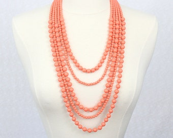 Coral Multi Strand Beaded Necklace Statement Necklace Multi Layered Necklace Beads Necklace
