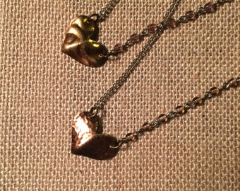Necklace- Brass Hammered Heart