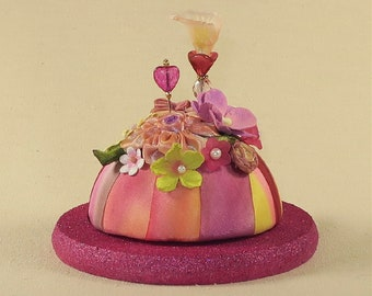 Petite Pincushion for Special Pins-Raspberry Sparkle cork base