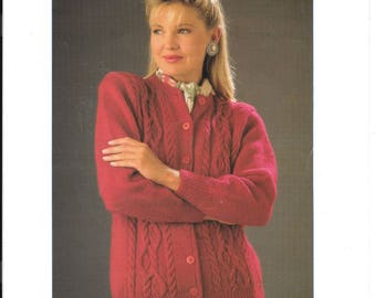 Nice original pattern by Sirday for a ladies cardigan in double knit - to fit sizes 30 - 40 ins / 76 - 102 cms