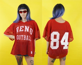 Reno Football 80s Athletic Mesh Sheer Red V-Neck Jersey, Cropped Men's Vintage Jersey, 80s Athletic, Men's Size X-Large