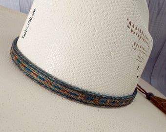 TEAL Horsehair hat band, Cowboy hat band, 5 strand, TEAL-cinnamon, horsehair hat band, horsehair tassel, Hat band, Western hatband, Beauty