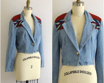 Cropped Denim Jacket/ 90s Southwestern Inset Jean Jacket/ Tribal Cropped Blazer/ Womens Size XS Small