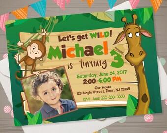 JUNGLE Birthday Invitation Zoo Birthday Invitation Zoo Invitation Zoo Animals Photo Invite Safari Birthday Party Animals Monkey Giraffe