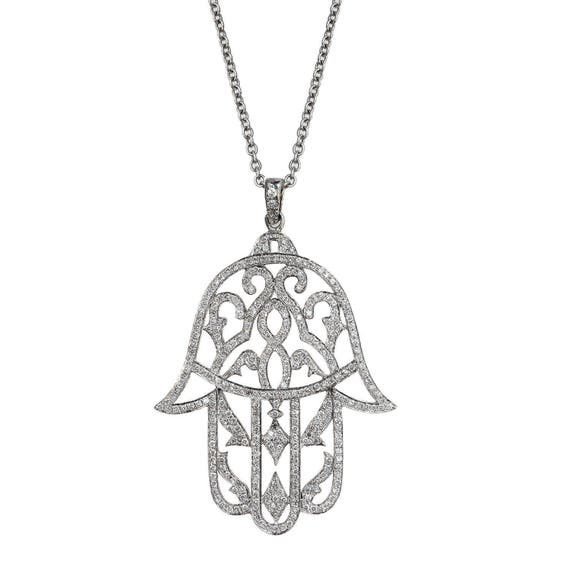 Hamsa hand diamond pendant necklace unique diamond pendant mozeypictures Images