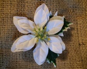 White poinsettia hair clip