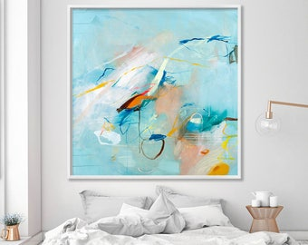Abstract art print of original painting, Large wall art prints, canvas art, teal and copper, abstract seascape by Duealberi