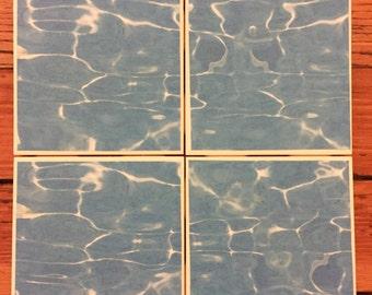Pool Water Coasters- Set of 4 Ceramic Coasters