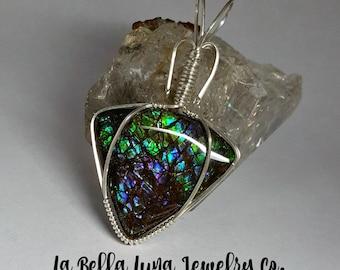 Ammolite wire wrapped pendant, Ammolite pendant, Sterling silver, Green Ammolite jewelry, Blue ammolite necklace, Purple Ammolite cabochon