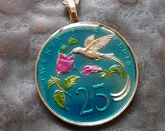 Jamaica - Hummingbird Coin Pendant - Hand Painted