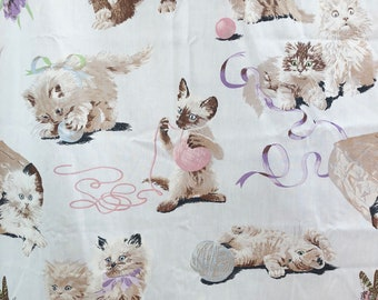 Vintage 80s Kittens Cats Novelty Print Twin Sheet Set Flat Fitted Brown Pink Fabric