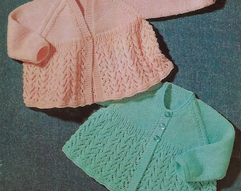 Instant PDF Digital Download baby matinee coats knitting pattern double knit   (438)