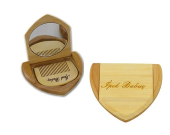 Personalized Wooden Bamboo Mirror and Comb Set / Custom Name Engraved
