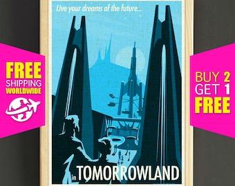 Disney art poster - Vintage Disneyland Tomorrowland Dreams of the Future - FREE SHIPPING [373]