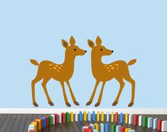 Woodland Forest Deer - Nursery Kid's Room Animals Printed Wall Decal
