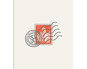 Space Needle, Seattle WA Stamp - 8x10 Art Print