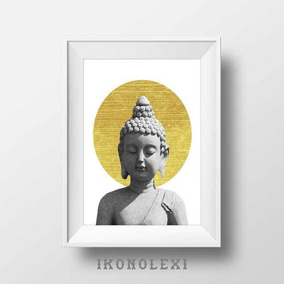 Golden buddha art wall prints little buddha buddha wall