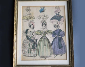 1833 Fashion Costume Plate 19th Century Dresses, Gold Wood Frame, 19th Century Ladies Costume Print, Pastel 1833 Costume Fashion Plate