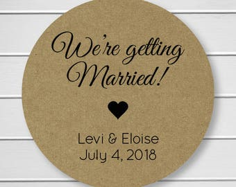 We're Getting Married Stickers, Personalized Save the Date Stickers, Envelope Seals, Kraft (#356-KR)