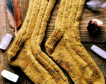 Citrine Sock Handknit Wool Socks S M 7-9 hygge rustic country handmade lagenlook mori girl