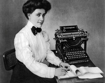 Remington Typewriter Photo, Black White Photography, Typewriter Print, Remington Typewriter, Women's History, Vintage Typewriters