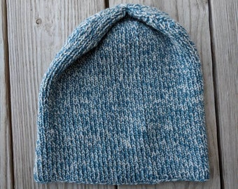 Blue Heather Slouchy Beanie